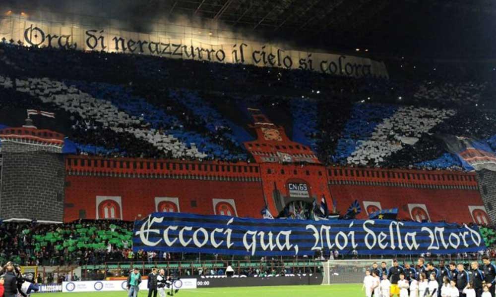 """19 Aprile 2015: """"Ora di nerazzurro il cielo si colora…Siamo qui noi della Nord"""" Derby di Milano: le più belle coreografie e striscioni nel derby tra inter e milan."""