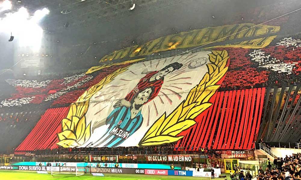 """31 Gennaio 2016: """"Sovrastiamoli"""" Derby di Milano: le più belle coreografie e striscioni nel derby tra inter e milan."""
